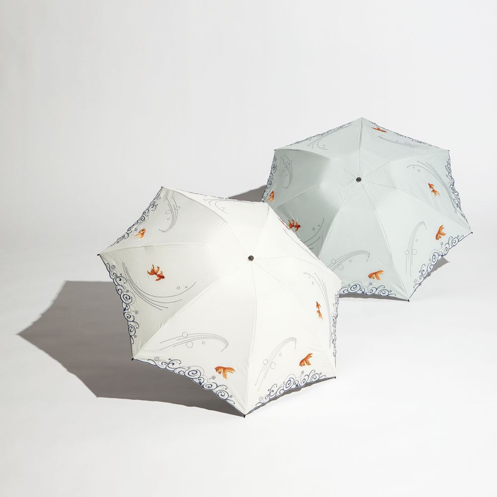 金魚刺繍2重折りたたみミニ晴雨兼用傘(日・シノワズリーモダン)(週刊新潮DM紹介)