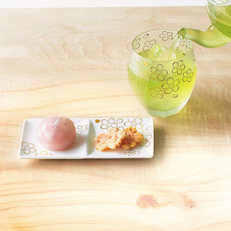 桜グラス皿揃え(プレミアム桜磁器トレイ&オールドセット)(日・アデリア×ナルミ)(週刊新潮DM紹介)